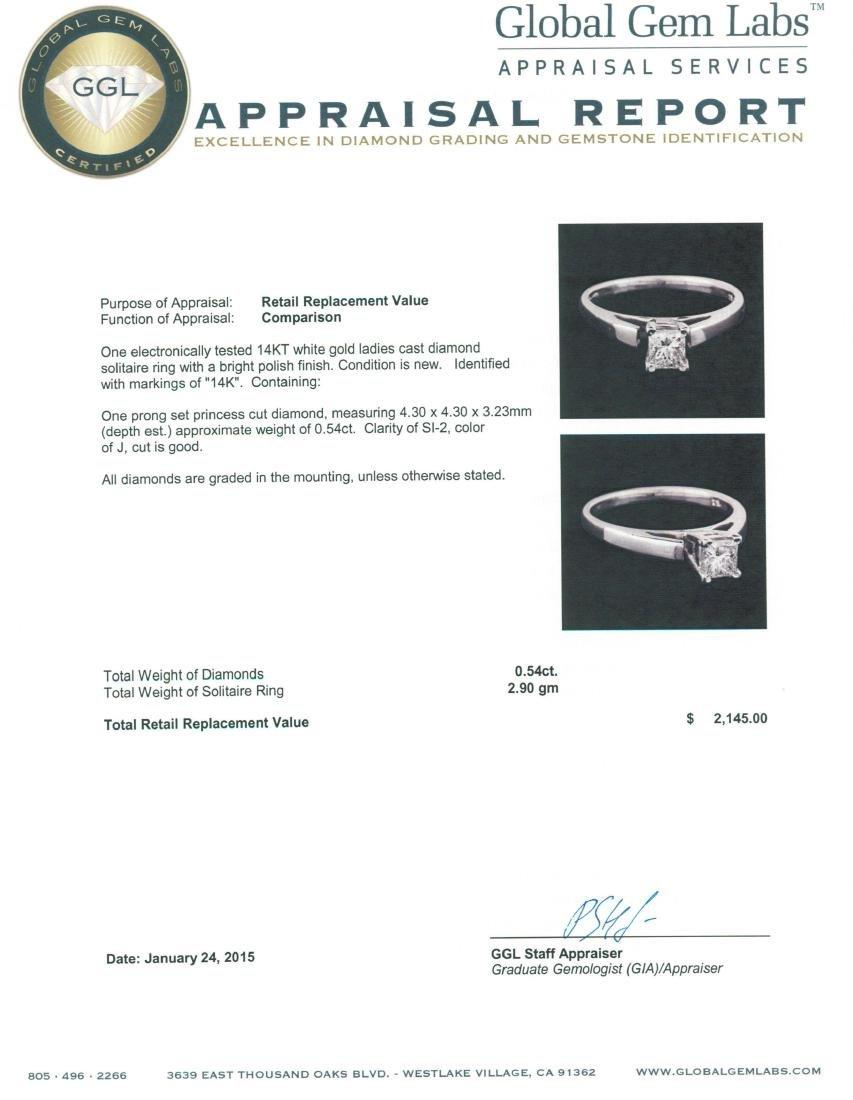 14KT White Gold 0.54 ctw Princess Cut Diamond Solitaire - 3