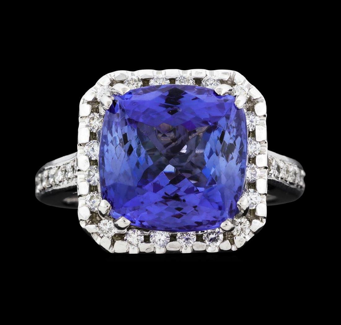 8.00 ctw Tanzanite and Diamond Ring - 14KT White Gold - 2