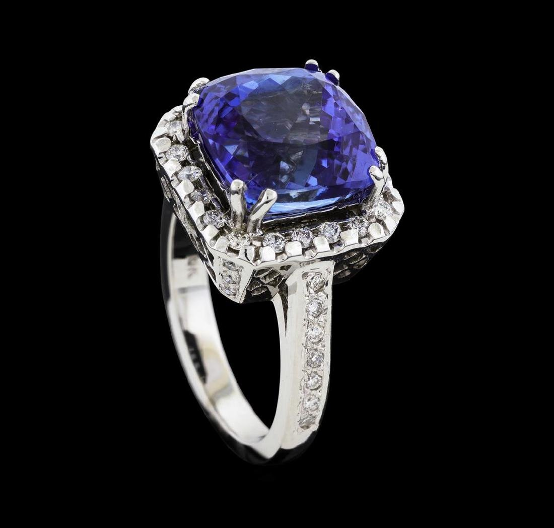 8.00 ctw Tanzanite and Diamond Ring - 14KT White Gold - 4