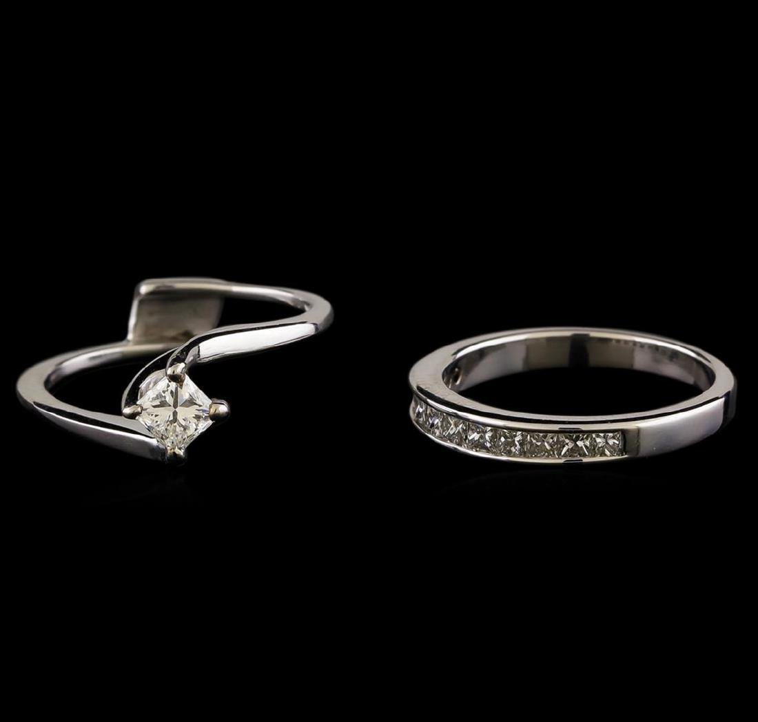 0.60 ctw Diamond Wedding Ring Set - 14KT White Gold - 2