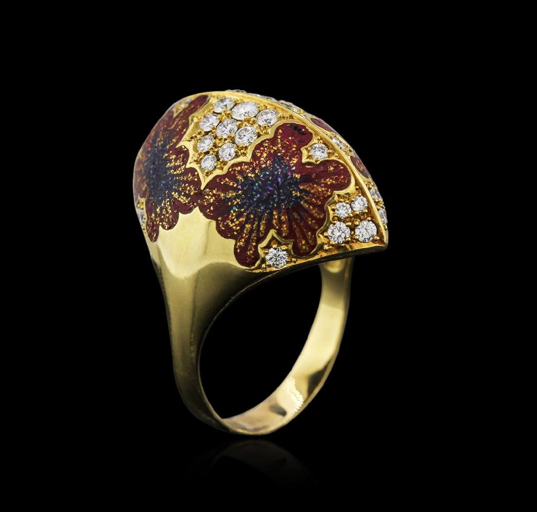 18KT Yellow Gold 0.80 ctw Diamond and Enamel Ring - 3