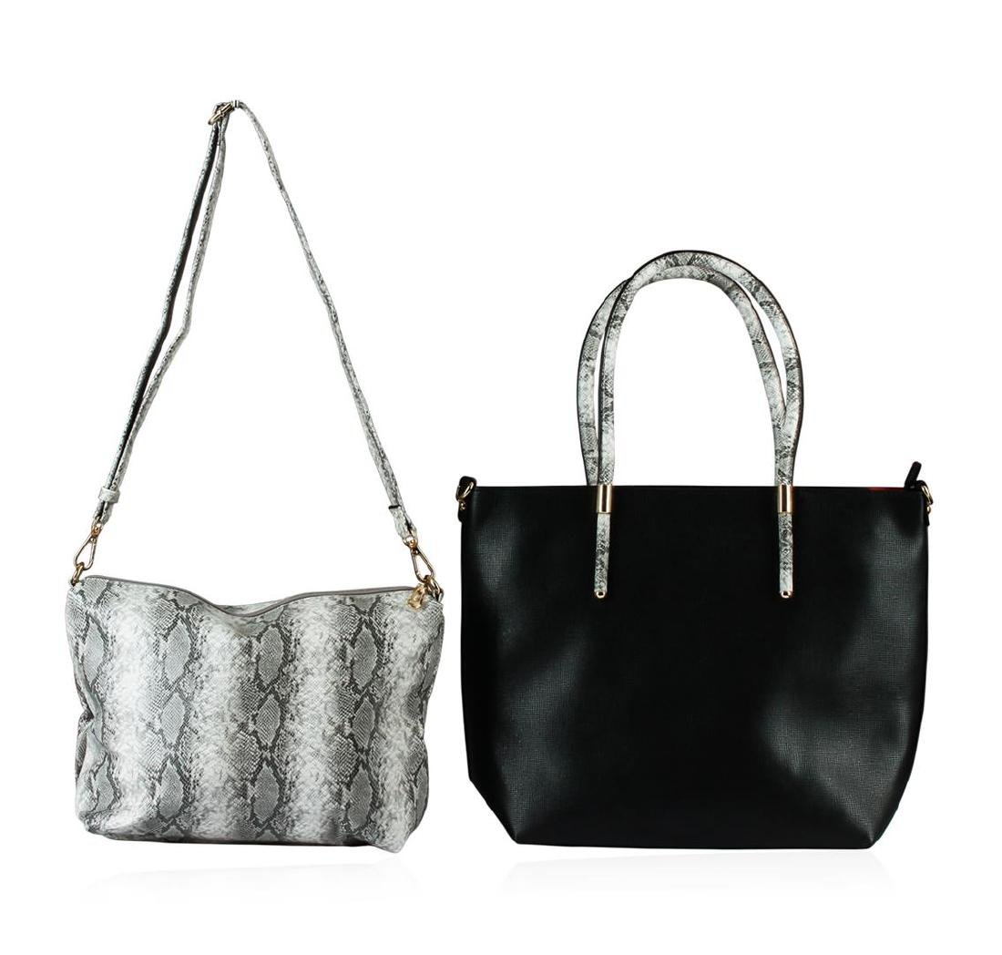 Black and Silver Textured Classic Handbag - 2