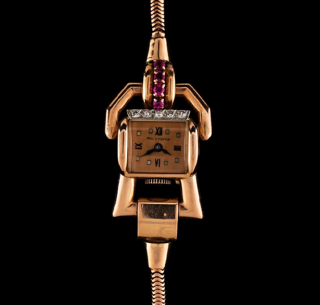Paul Ditisheim 14KT Rose Gold Ruby and Diamond Ladies