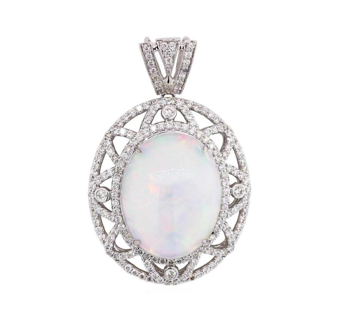 22.54 ctw Opal And Diamond Pendant - 14KT White Gold