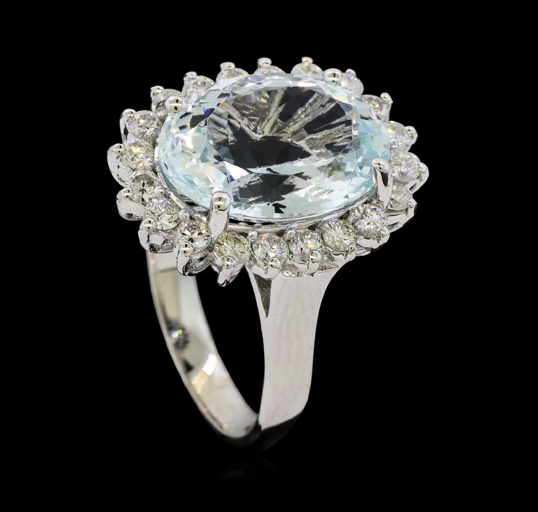 5.95 ctw Aquamarine and Diamond Ring - 14KT White Gold - 4