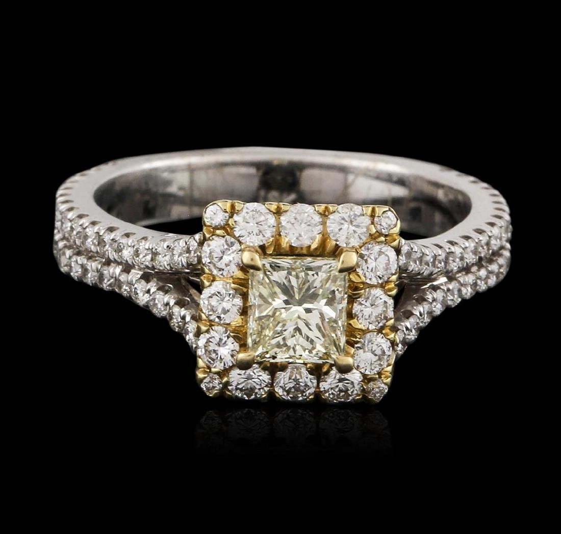 18KT Two-Tone Gold 0.83 ctw Fancy Yellow Diamond Ring - 2