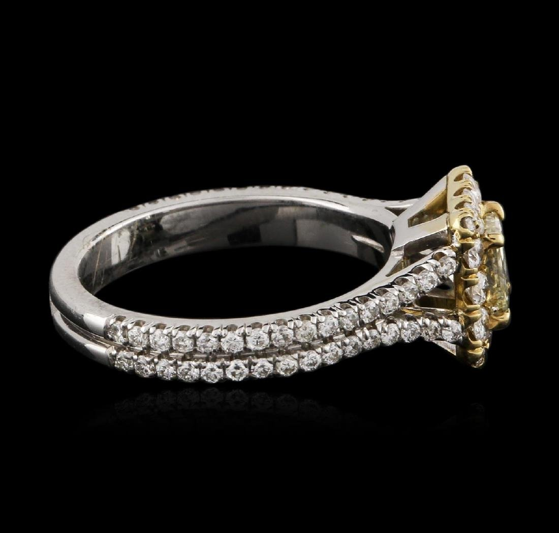 18KT Two-Tone Gold 0.83 ctw Fancy Yellow Diamond Ring - 3