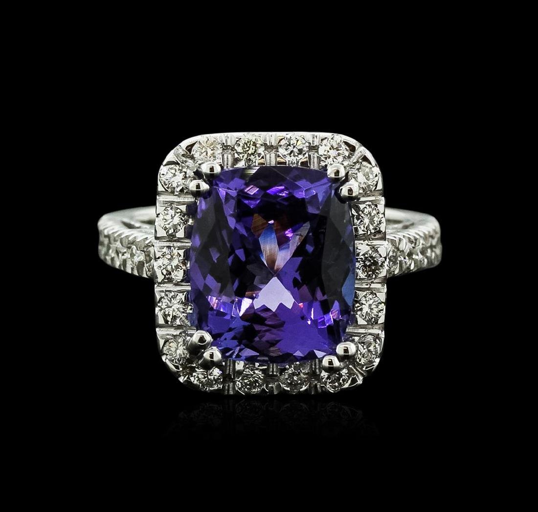 14KT White Gold 6.14 ctw Tanzanite and Diamond Ring - 2