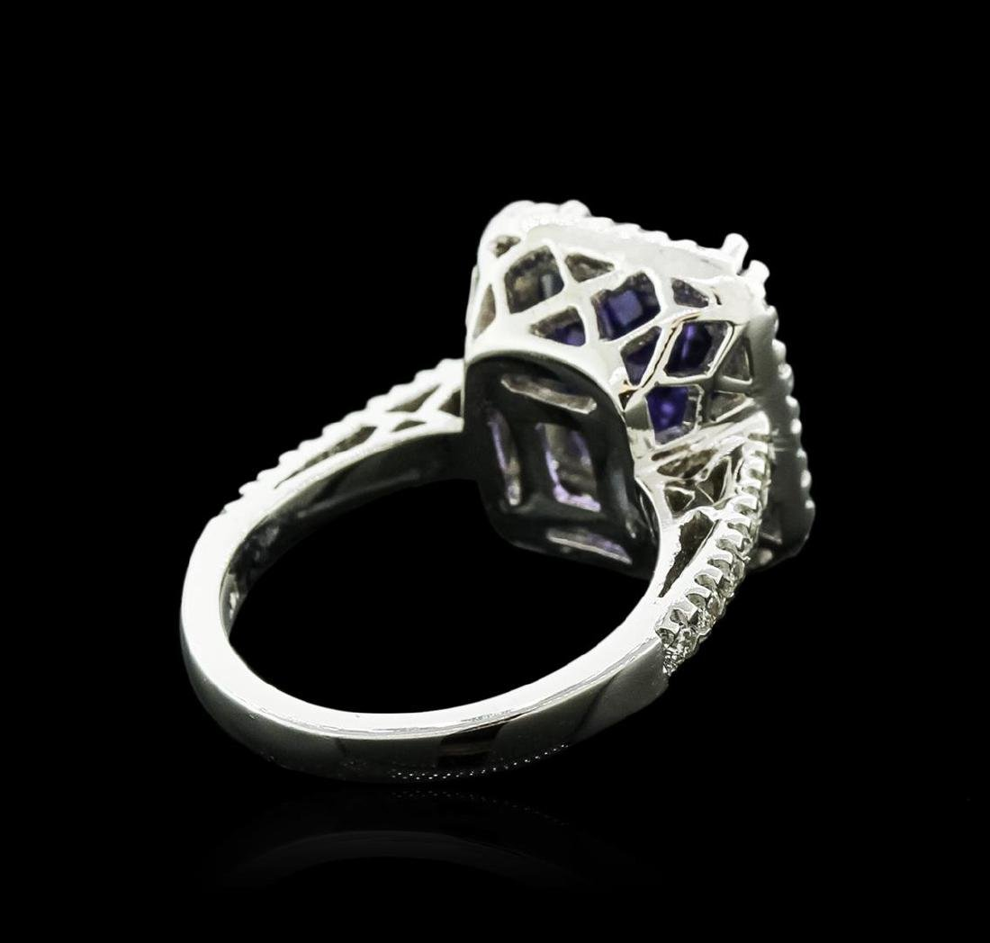 14KT White Gold 6.14 ctw Tanzanite and Diamond Ring - 3