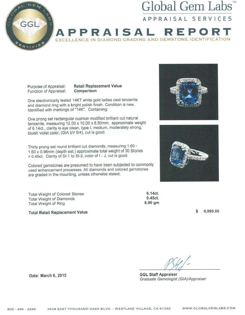 14KT White Gold 6.14 ctw Tanzanite and Diamond Ring - 4