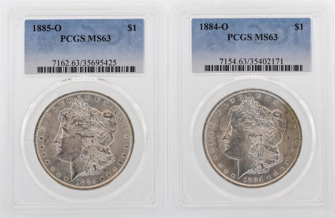 Lot of 1884-O & 1885-O $1 Morgan Silver Dollar Coins