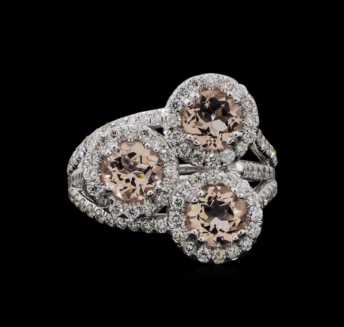 2.07 ctw Morganite and Diamond Ring - 14KT White Gold - 2