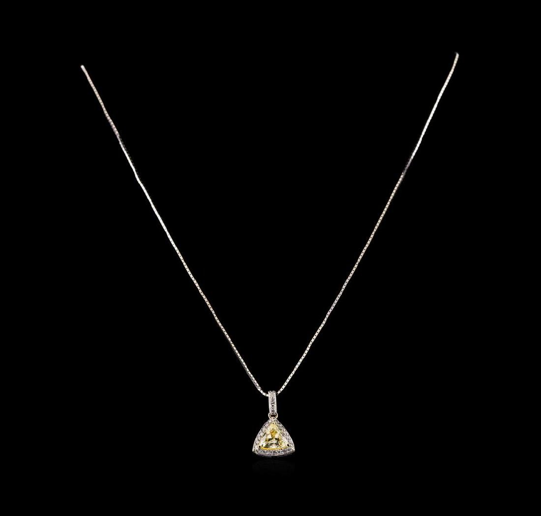 1.24 ctw Diamond Pendant With Chain - 18KT White Gold - 2