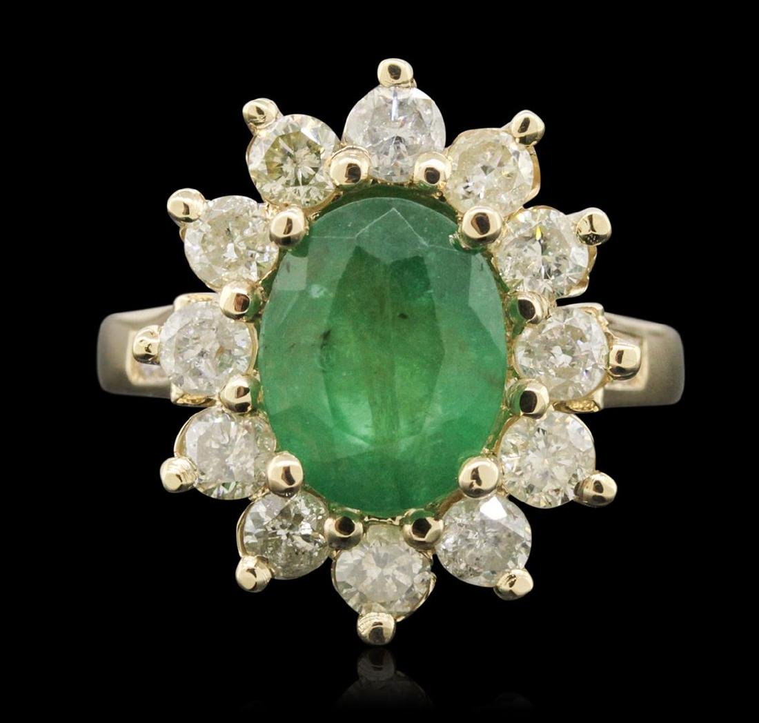 14KT Yellow Gold 2.79 ctw Emerald and Diamond Ring - 2