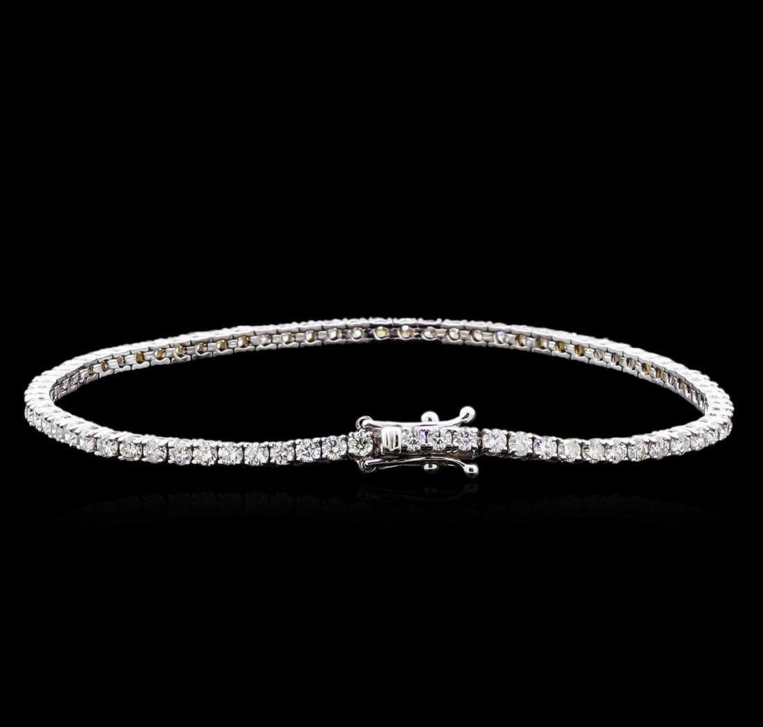 3.20 ctw Diamond Bracelet - 18KT White Gold - 2