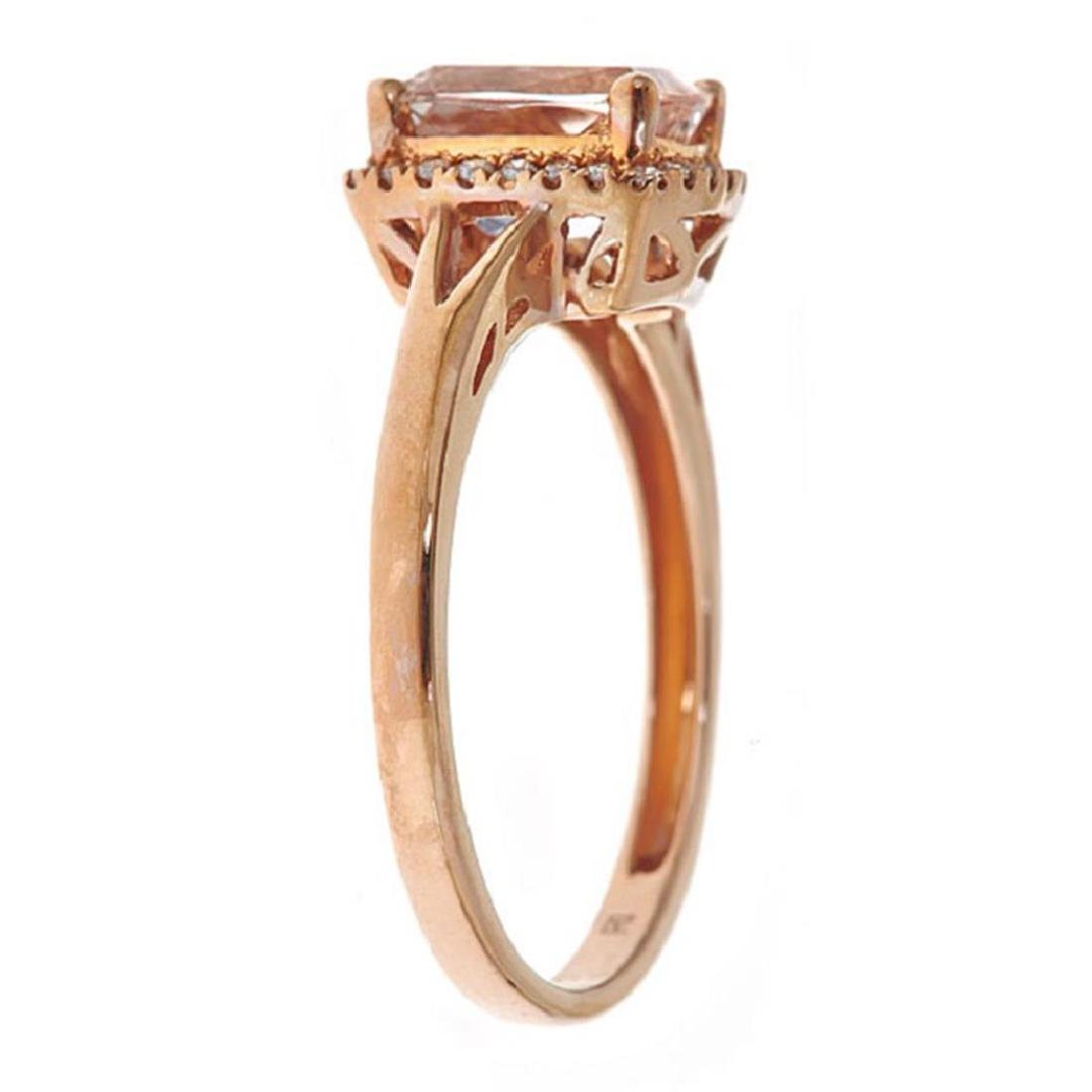 1.22 ctw Morganite and Diamond Ring - 10KT Rose Gold - 2