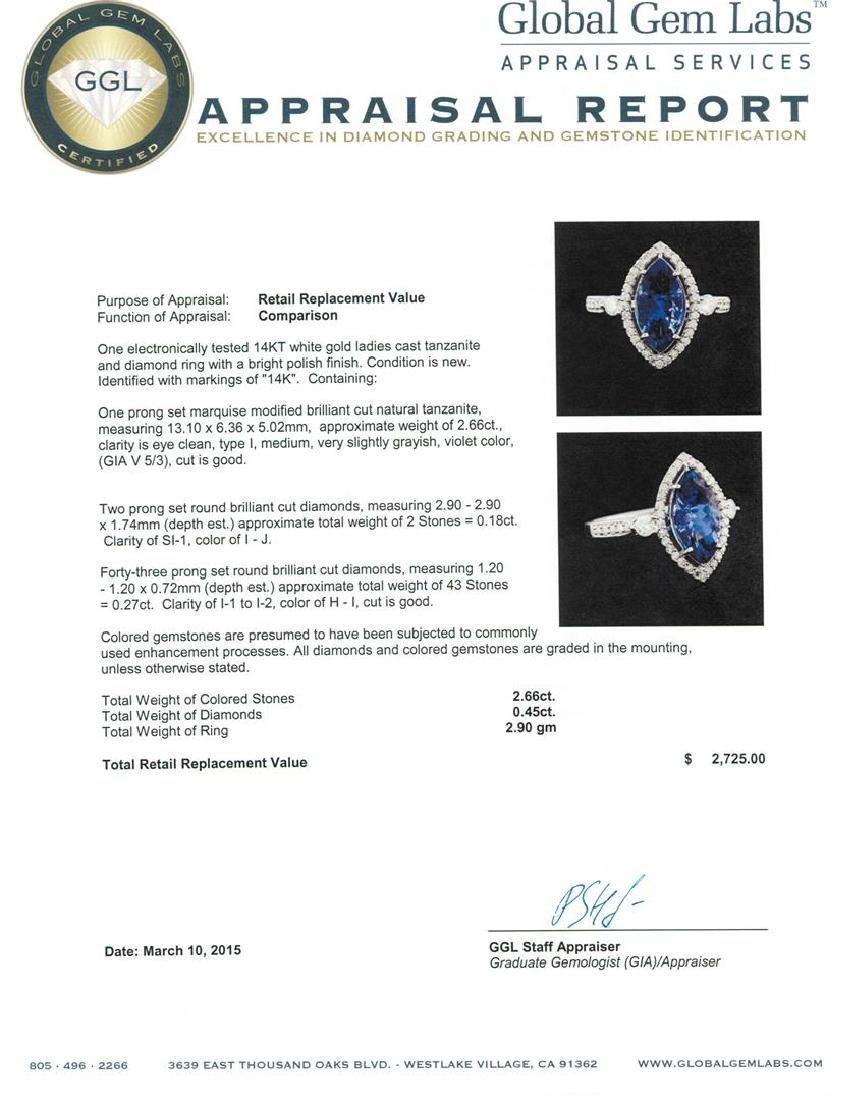 14KT White Gold 2.66 ctw Tanzanite and Diamond Ring - 5