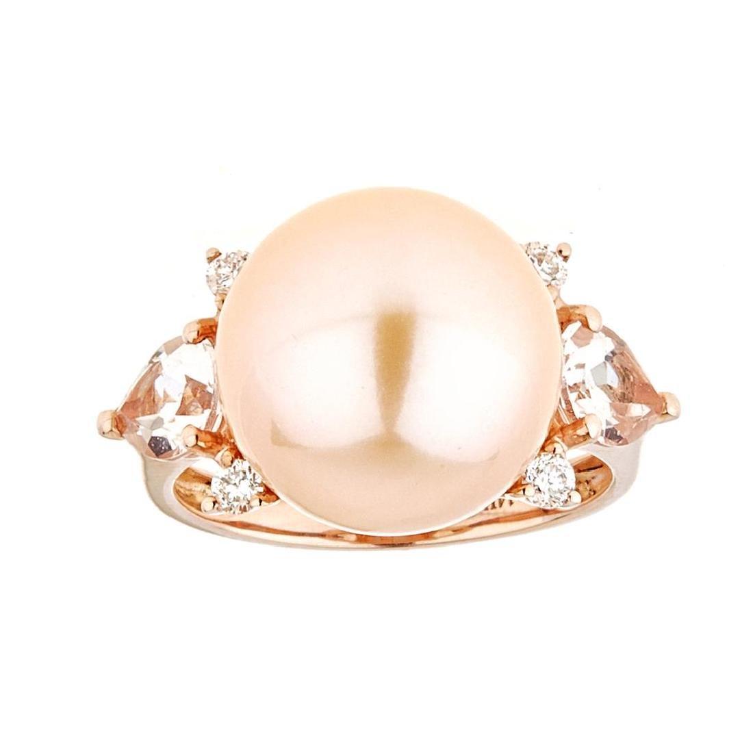 Pearl, Morganite and Diamond Ring - 14KT Rose Gold