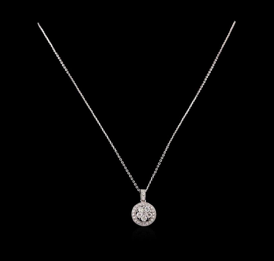 14KT White Gold 0.91 ctw Diamond Pendant With Chain - 2