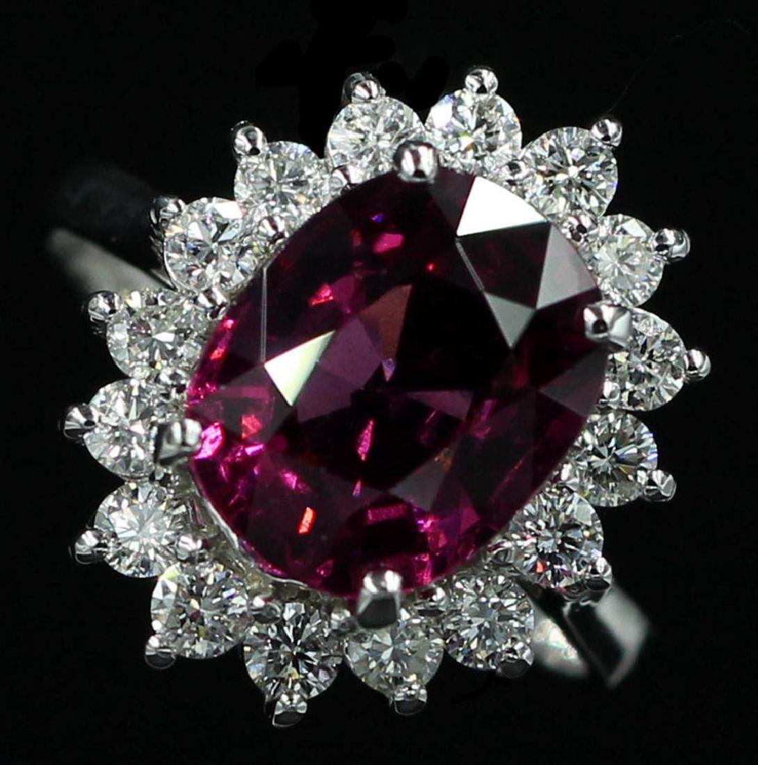 4.16 ctw Pink Rhodolite and Diamond Ring - 14KT White