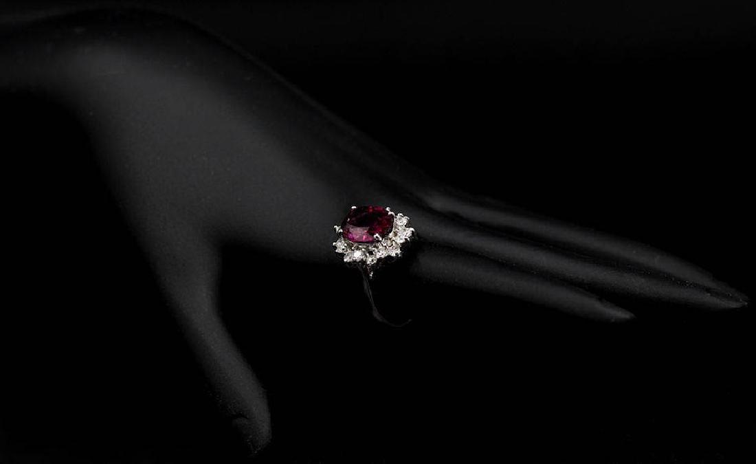 4.16 ctw Pink Rhodolite and Diamond Ring - 14KT White - 3