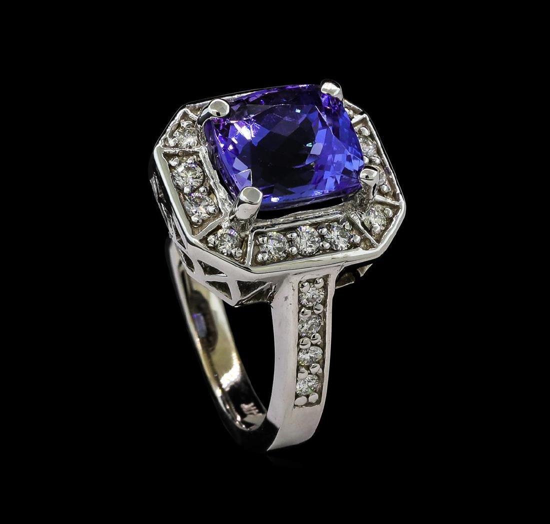 3.98 ctw Tanzanite and Diamond Ring - 14KT White Gold - 4