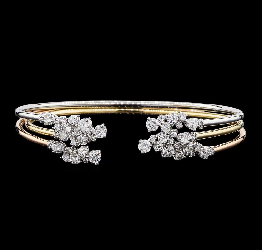 3.34 ctw Diamond Bangle Bracelets - 14KT Yellow, White,