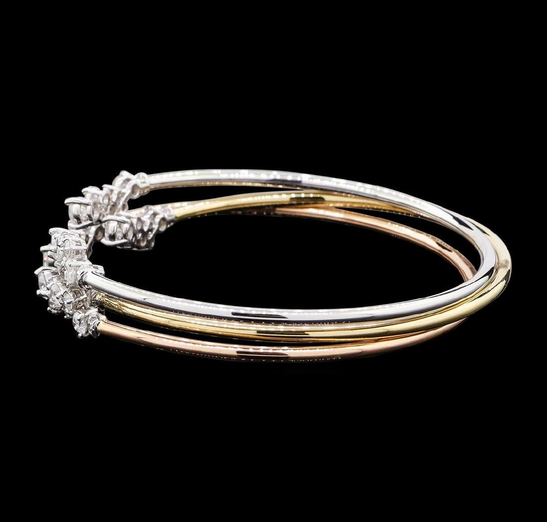 3.34 ctw Diamond Bangle Bracelets - 14KT Yellow, White, - 2