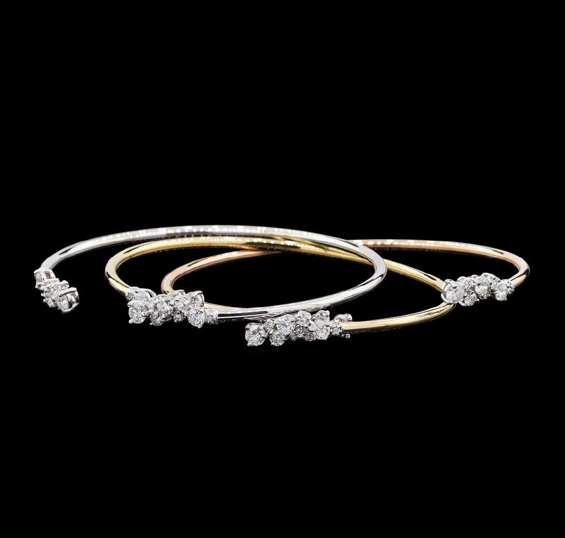3.34 ctw Diamond Bangle Bracelets - 14KT Yellow, White, - 3