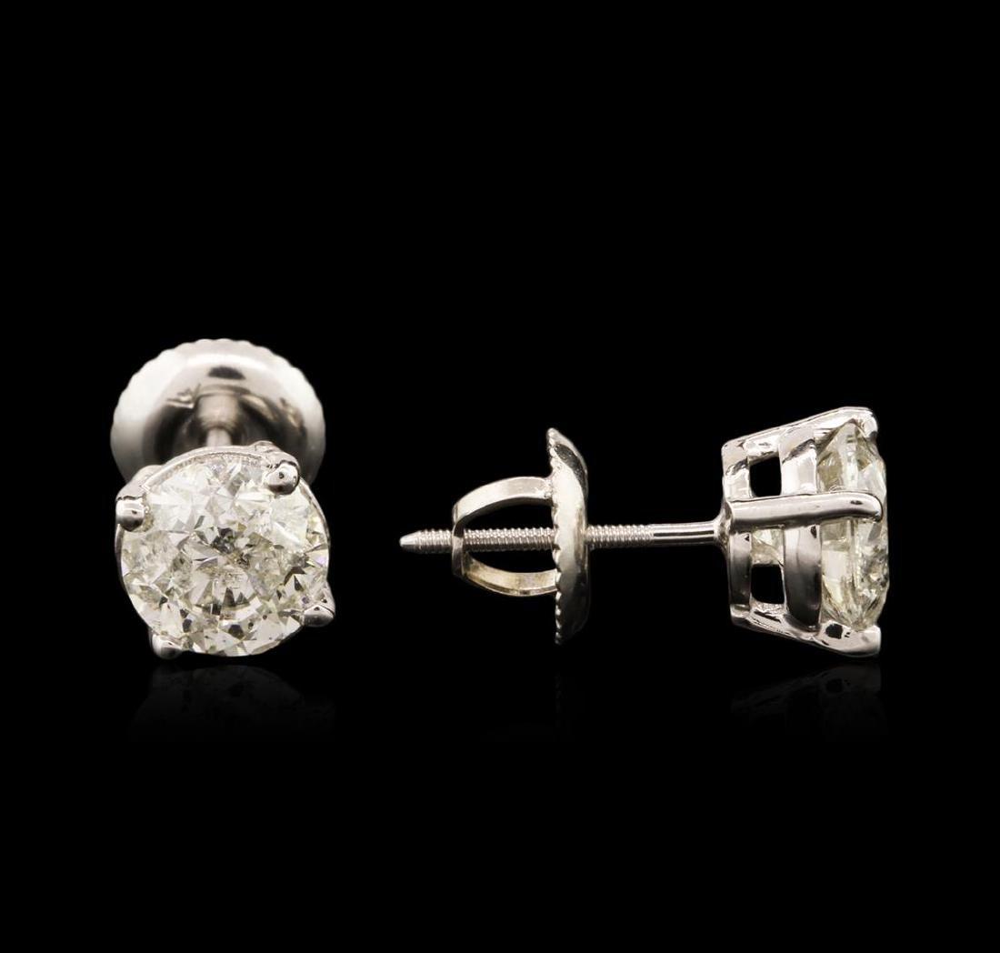 14KT White Gold 1.69 ctw Diamond Stud Earrings - 2