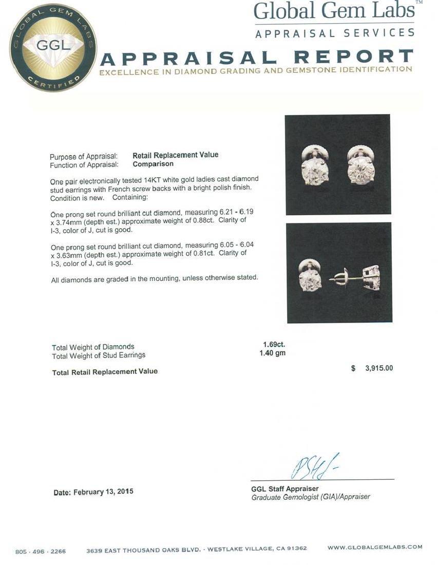 14KT White Gold 1.69 ctw Diamond Stud Earrings - 3