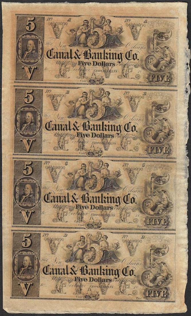 Uncut Sheet of 1800's $5 Canal & Banking Co. Obsolete