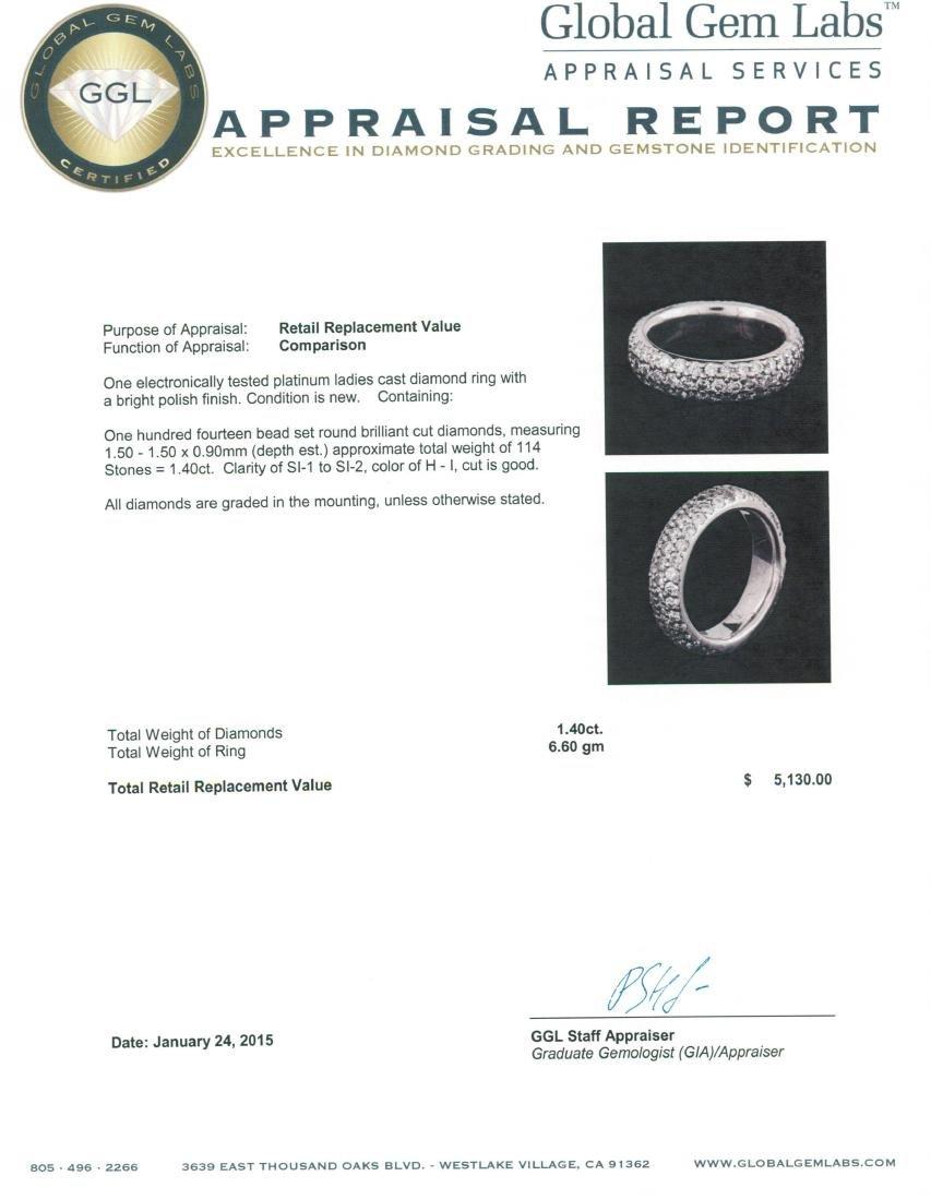 Platinum 1.40 ctw Diamond Ring - 3