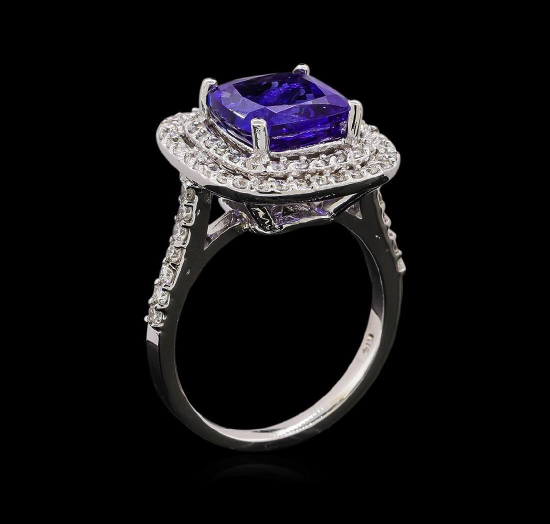 14KT White Gold 3.67 ctw Tanzanite and Diamond Ring - 4
