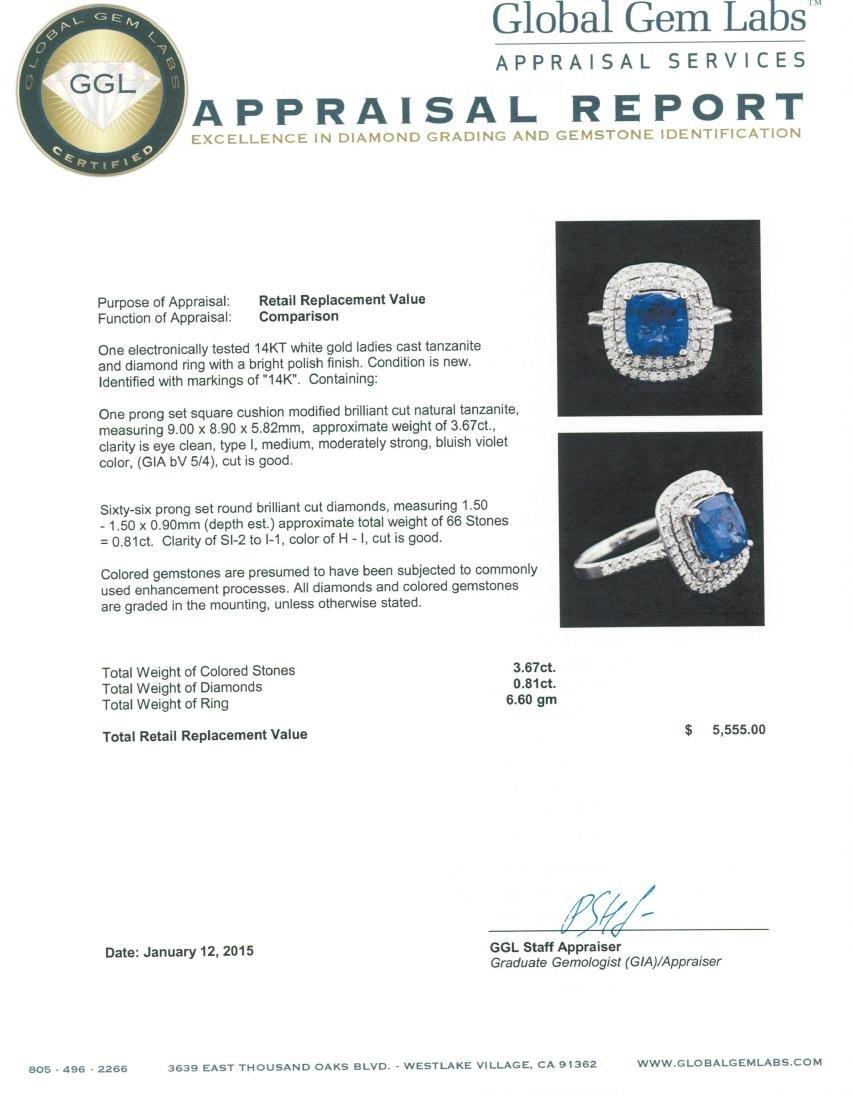 14KT White Gold 3.67 ctw Tanzanite and Diamond Ring - 5