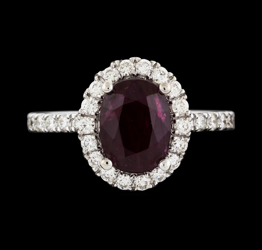2.34 ctw Ruby and Diamond Ring - 14KT White Gold - 2