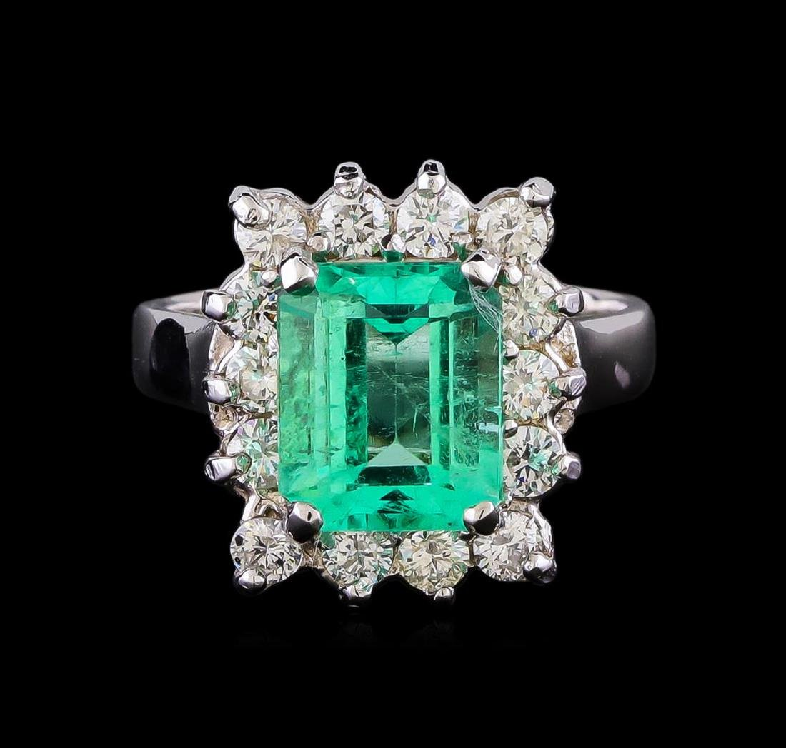 2.90 ctw Emerald and Diamond Ring - 14KT White Gold - 2