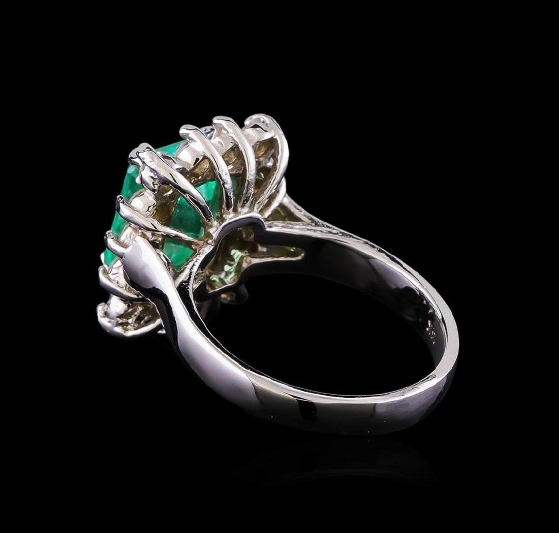 2.90 ctw Emerald and Diamond Ring - 14KT White Gold - 3