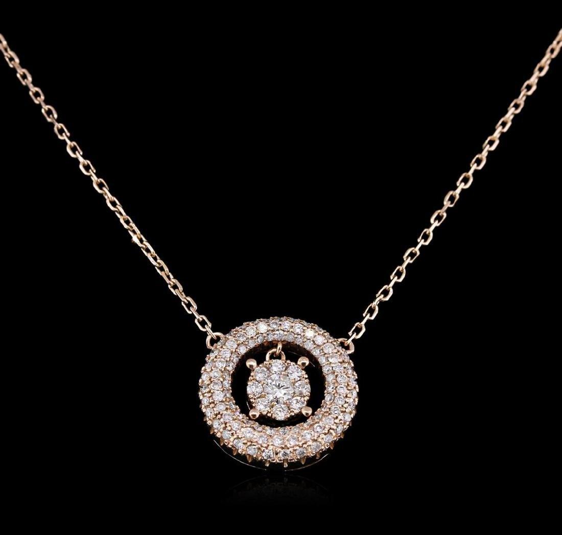 0.64 ctw Diamond Necklace - 14KT Rose Gold - 2