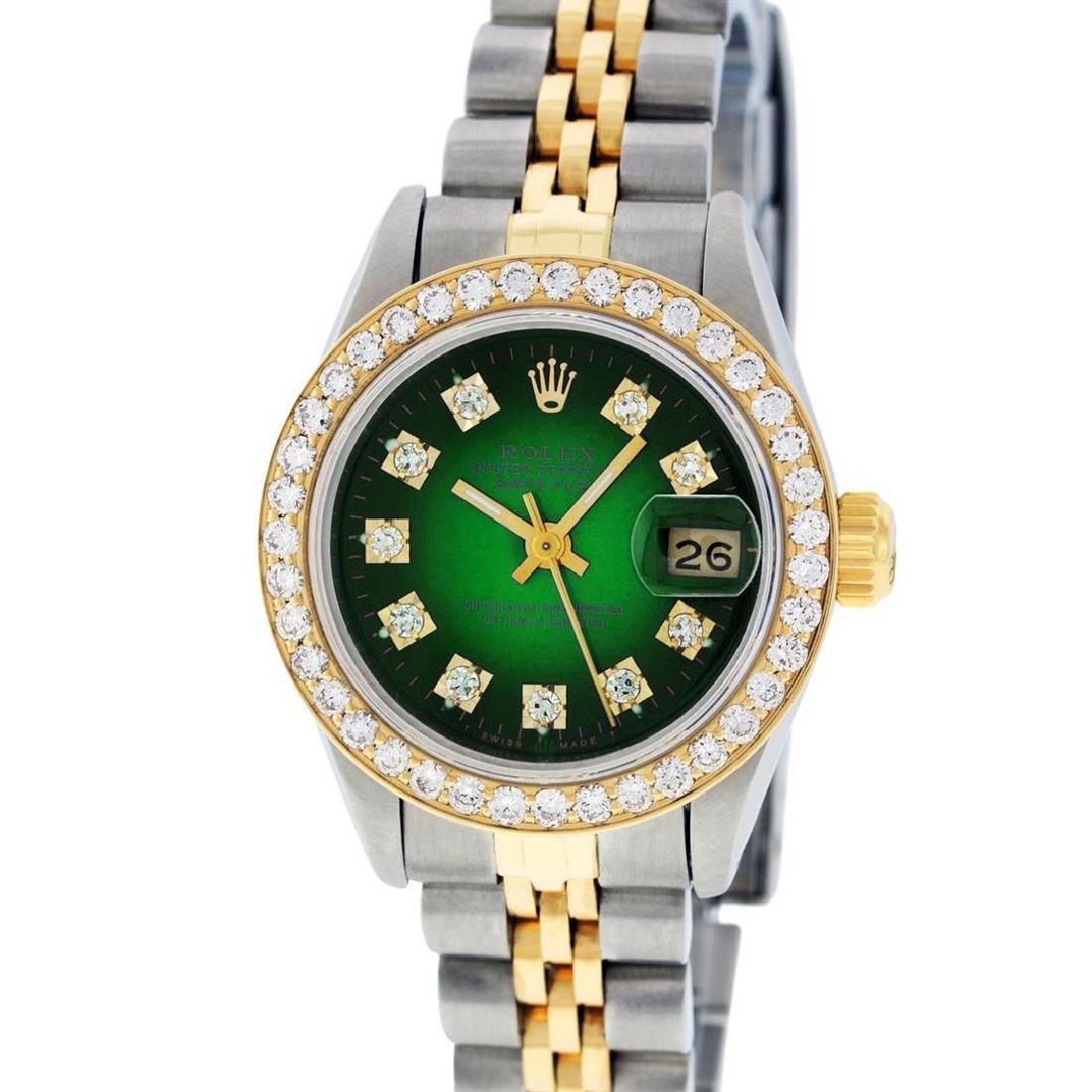 Rolex Ladies 2 Tone 14K Green Vignette VS Diamond - 2