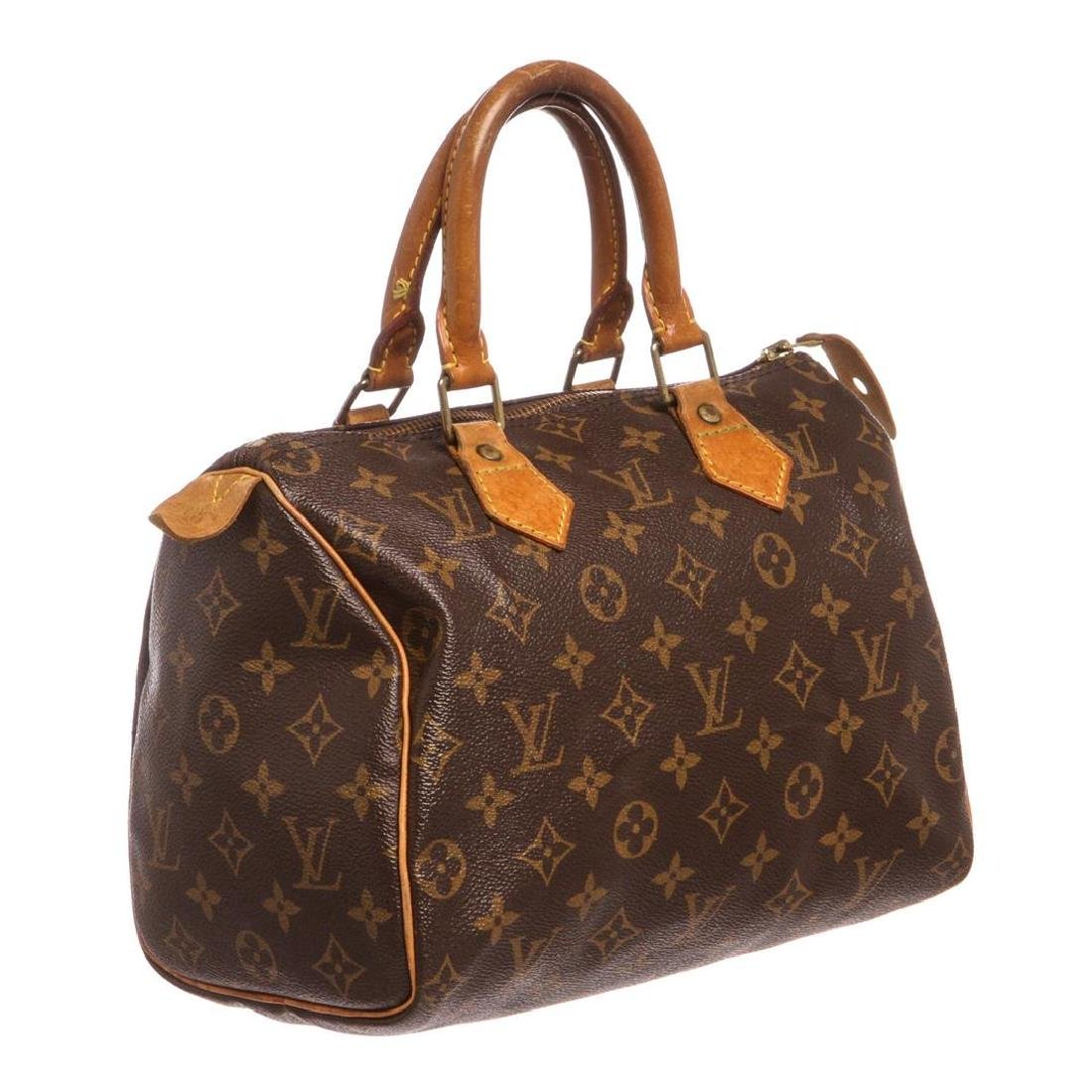 Louis Vuitton Monogram Canvas Leather Speedy 25 cm Bag - 2