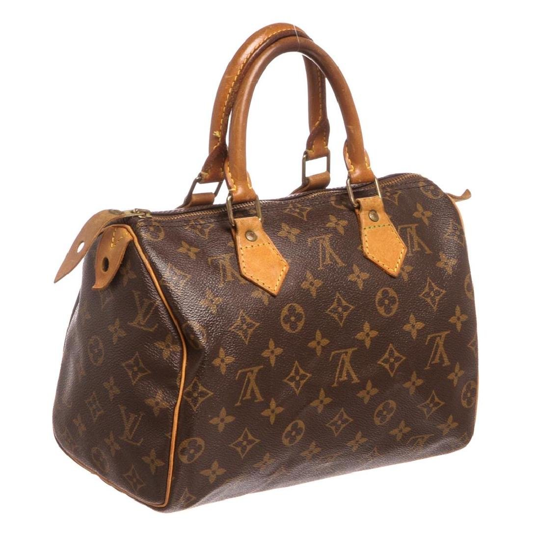 Louis Vuitton Monogram Canvas Leather Speedy 25 cm Bag - 3