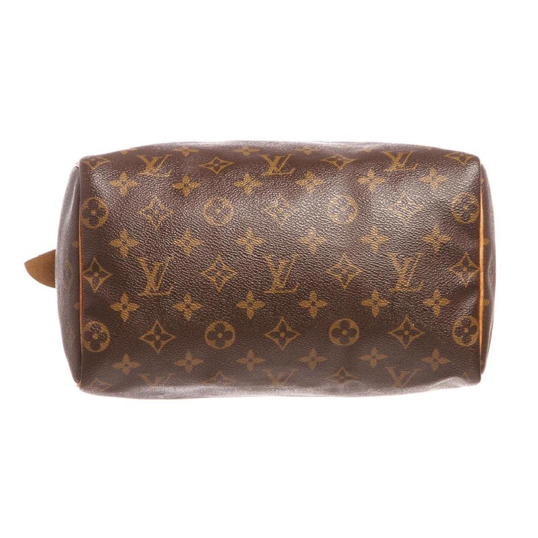 Louis Vuitton Monogram Canvas Leather Speedy 25 cm Bag - 4