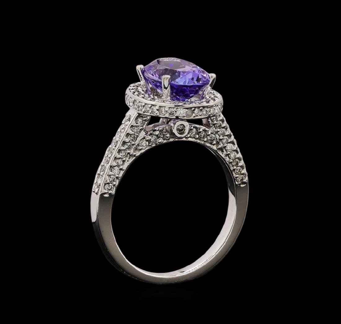 14KT White Gold 2.36 ctw Tanzanite and Diamond Ring - 4