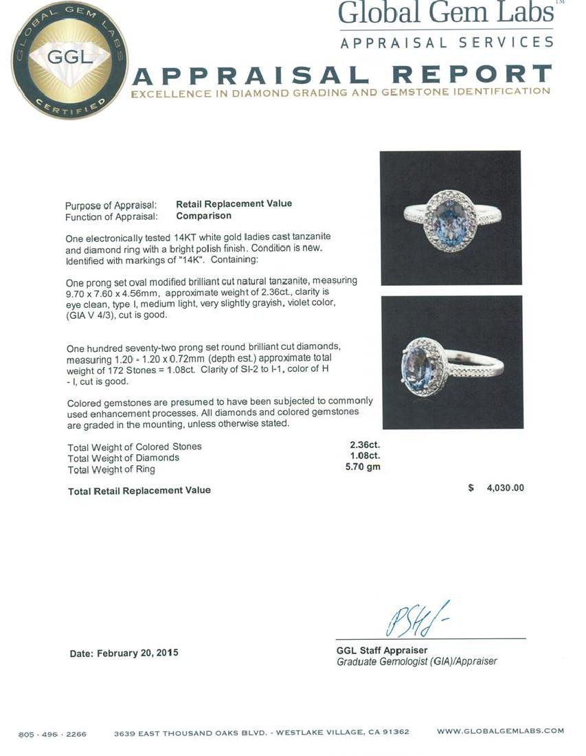 14KT White Gold 2.36 ctw Tanzanite and Diamond Ring - 5