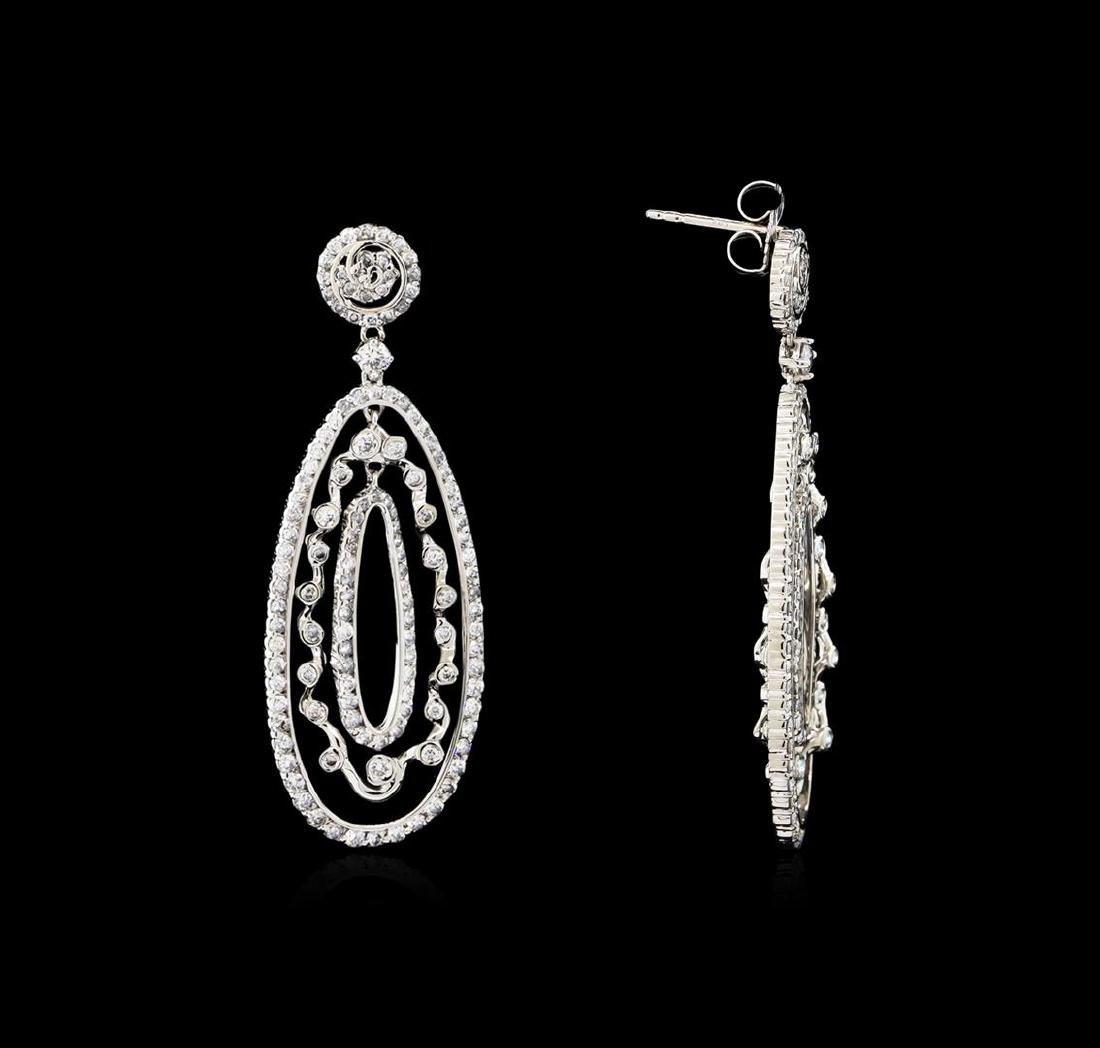 3.21 ctw Diamond Dangle Earrings - 14KT White Gold - 2