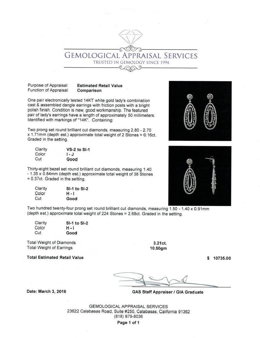3.21 ctw Diamond Dangle Earrings - 14KT White Gold - 3