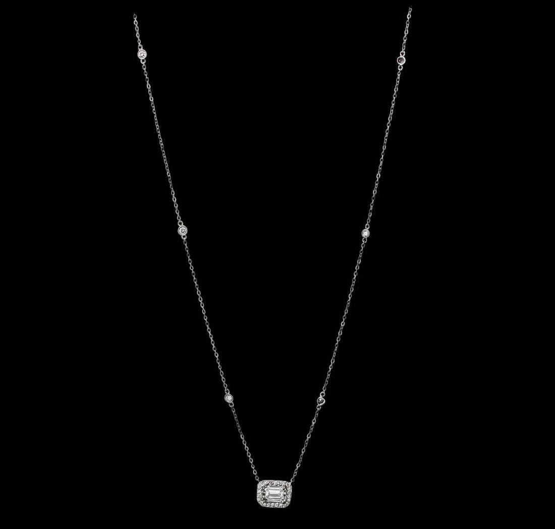 14KT White Gold GIA Certified 1.70 ctw Diamond Necklace - 2