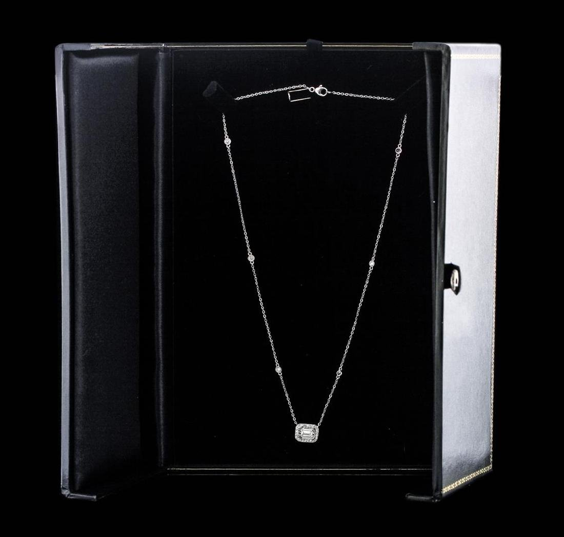 14KT White Gold GIA Certified 1.70 ctw Diamond Necklace - 3