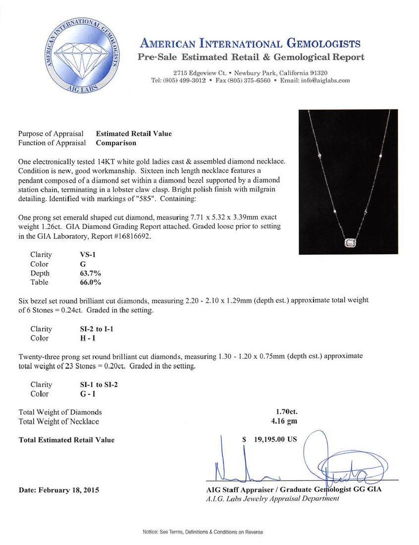 14KT White Gold GIA Certified 1.70 ctw Diamond Necklace - 4